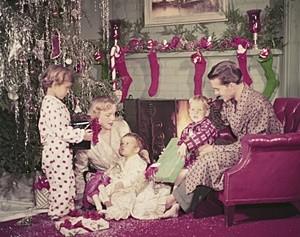 Family in Living Room on Christmas Morning